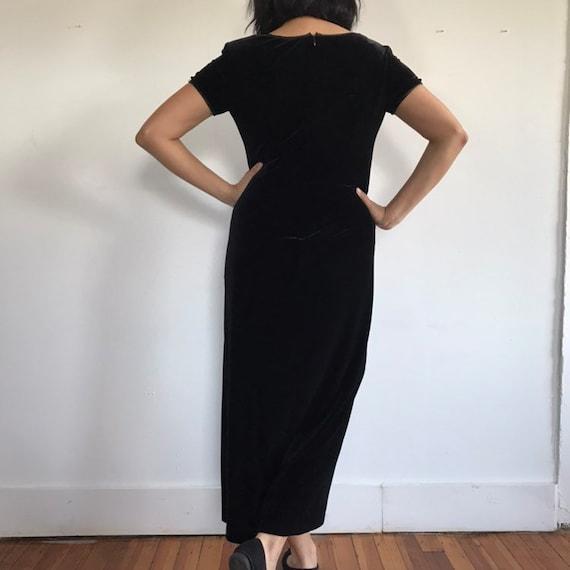 vtg black velvet dress, velvet maxi dress, black … - image 6