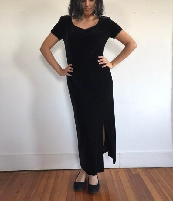 vtg black velvet dress, velvet maxi dress, black … - image 3