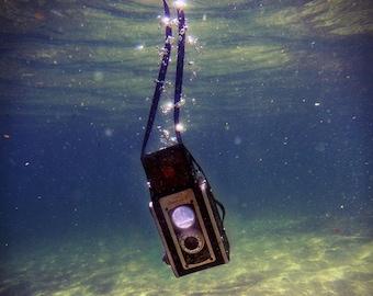 Old Camera Fine Art Photograph, Underwater Photography, Surreal, Vintage, Ocean, Water, Art, Photographer, Sinking, Blue, Photo, Decor, Gift