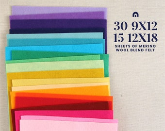 Wool Felt Sheets // Choose your own colors  // Felt Supplier, Felt Shop, 1mm Thick Felt Fabric, Sewing, Doll Making, Needlework Projects