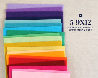 "Wool Felt // 5 9x12"" Sheets // Choose Your Own Colors // Felt Sheets, Colorful Fibers, Flower Supplies, Felt Banners, Wool Blend Felt"