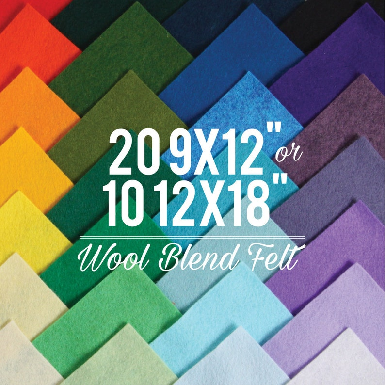 Wool Felt Sheets // Choose your own colors // Felt Square image 0