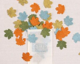 Felt Maple Leaves // Felt-Fetti by Benzie // Fall Felt Craft, Leaf Die Cuts, Maple Leaf Garland, Felt Embellishment, Thanksgiving Decor