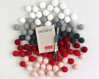 Felt Pom-Poms // Loved and Lost Garland Kit // Felt Balls, Valentine Banner, Red Felt Balls, Valentine Craft DIY, Kids Valentine Craft
