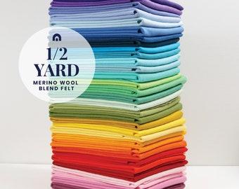 Felt by the Yard // 1/2 yard // Wool Blend Felt, Merino Fabric, Felt Yards, Large Sheets of Felt, Felt Yardage, Wool Felt, Felt Fabric