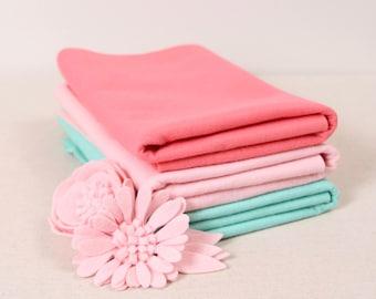Coral, Peony & Seafoam // Wool Blend Felt // Benzie // Custom Dyed Colors, Exclusive Colors, Felt Yardage, Wool by the Yard, Wool Blend Felt