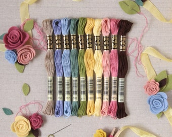 DMC Embroidery Floss // Stitching Supplies, Colorful Threads, Needlepunch Supply, Cross Stitch, Wool Felt, Embroidery Skein, String Art