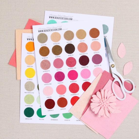 Felt Swatch Chart Benzie Color Samples Felt Fabric Etsy