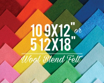 Wool Felt Sheets // Choose your own colors // 9x12 or 12x18 Felt Sheets, Wool Blend Felt, Felt Bows, Felt Supplier, Felt Shop, Felt Fabric