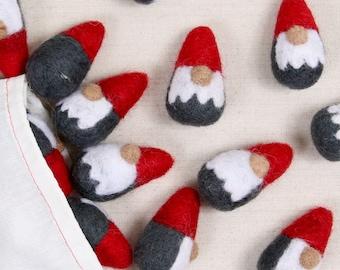 Gnome, Red // Felted Shape // Christmas // Spring // Holiday Decor // DIY Garland // Wreath // Wet Felting // Needle Felting // Wool Shape