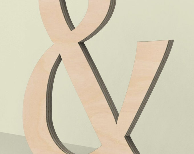 """Ampersand & Wood Letter Door or Wall Hanger 14"""" tall Custom Made Unfinished Ready for Painting."""