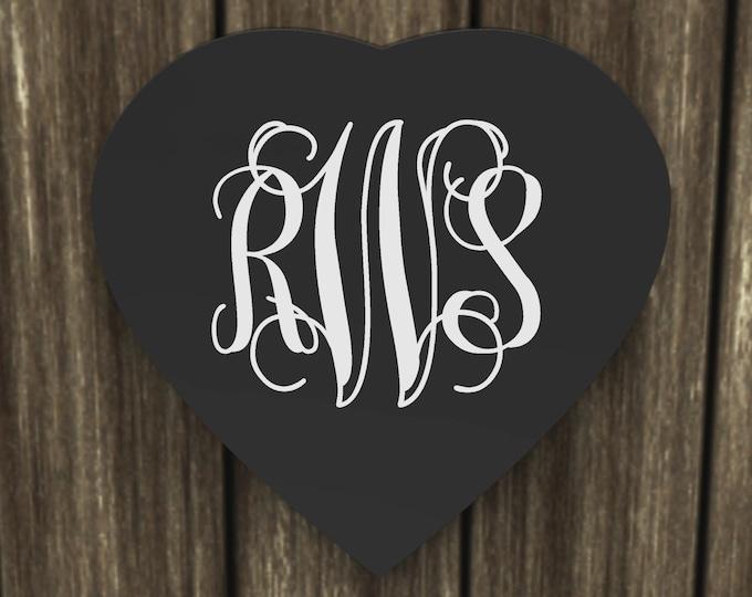 Heart Shape Vine Monogram Sign, Wall Hanging, Custom Crafted Wood Sign wedding gift.