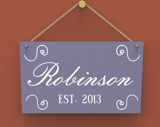 Family Last Name Established Date Custom Wall Hanging Sign.