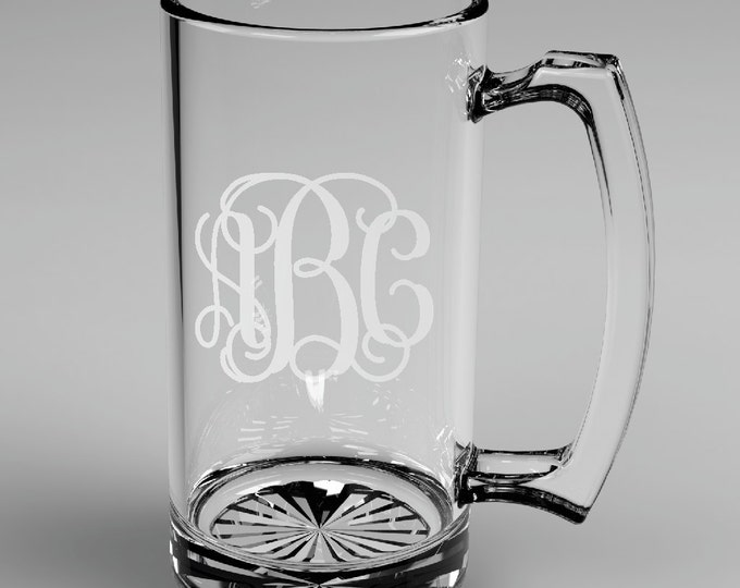 8 Personalized Groomsman Vine Monogram Beer Mugs Custom Engraved