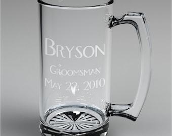 6 Personalized Groomsman Beer Mugs Custom Engraved Wedding Gift.