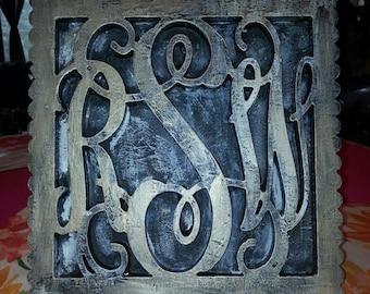 "18"" 3 Letter Vine Monogram  Monogram Custom made and distressed painted Cottage Chic."