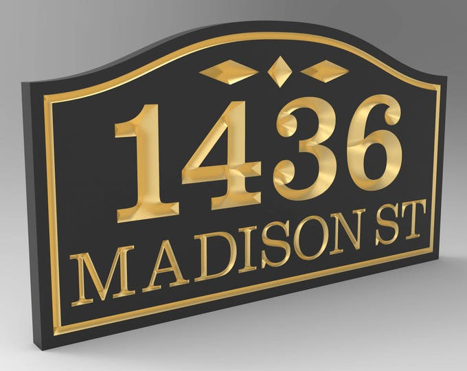 House Number Sign With Top Sculpted Curved Frame Personalized.