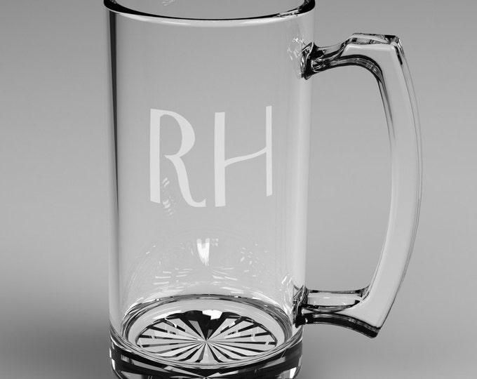 5 Personalized Beer Mugs with Custom Engraved Mononogram