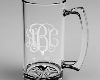 10 Personalized Groomsman Vine Monogram Beer Mugs Custom Engraved