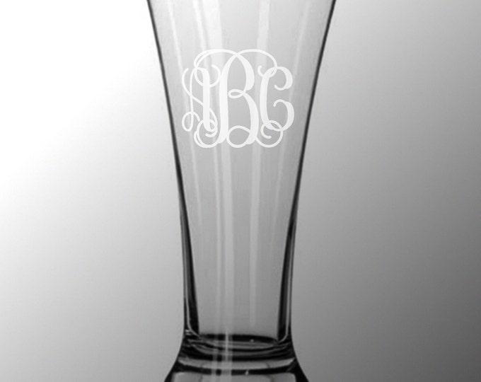 2 Personalized Pilsner Flare Pub Beer Glasses Custom Engraved Vine Monogram