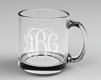 8 Personalized Vine Monogram Glass Mugs Custom Engraved
