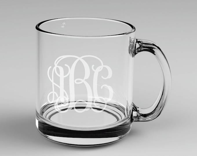 3 Personalized Vine Monogram Glass Mugs Custom Engraved