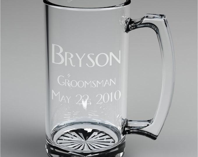 3 Personalized Groomsman Beer Mugs Custom Engraved Wedding Gift.