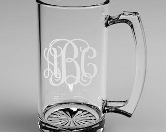 2 Personalized Groomsman Vine Monogram Beer Mugs Glass Monogrammed Custom Engraved.