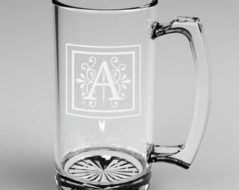 2 Personalized Groomsman Monogram Beer Mugs Custom Engraved Wedding Gift.