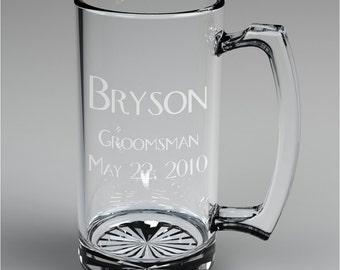 1 Personalized Wedding Engraved Groomsman Beer Mug Custom Engraved