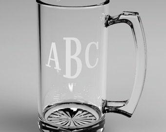 1 Personalized Groomsman Roman Monogram Beer Glass Mugs Custom Engraved