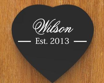 Family Name Sign, Heart Shape Last Name Sign, family Established Custom Wood Sign wedding gift.