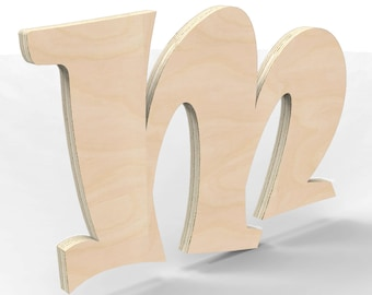 "Custom Hand Cut Letter M 18"" tall Unfinished Ready For Painting."