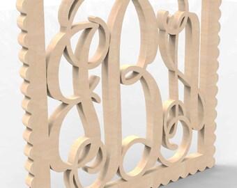 "3 Letter Monogram Door or Wall Hanger w Square Sculpted Frame 18"" tall Custom Made."