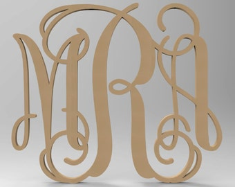"3 Letter Connected Vine Wood Monogram Door or Wall Hanger 18"" tall Custom Made."