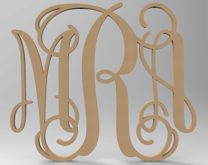 "3 Letter Connected Vine Wood Monogram Door or Wall Hanger 14"" tall Custom Made."
