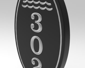 House Number Plaque, Sign 5 x 8 With Oval Frame Personalized.