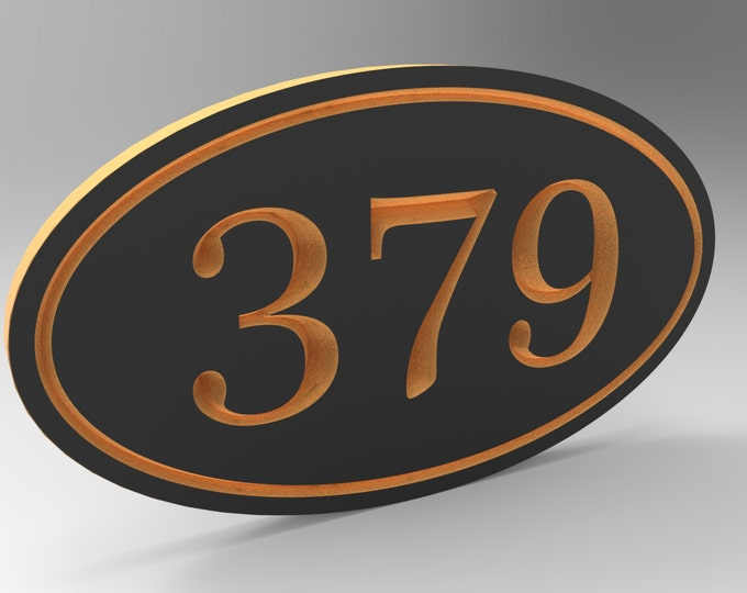 House Number Sign With Oval Frame Personalized.