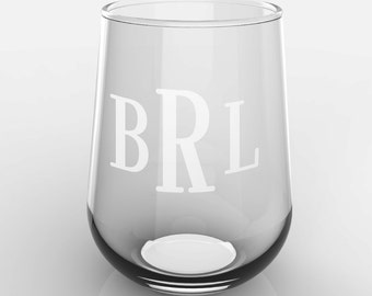1 Personalized Roman Monogram Glass Stemless White or Red Wine Glass Custom Engraved
