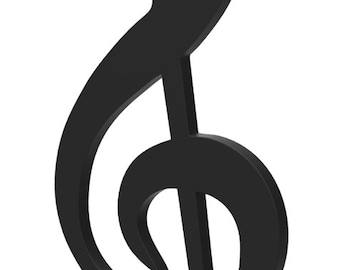 """Wooden G Clef Music Symbol Door or Wall Hanger 12"""" tall Wooden G Clef Music Symbol custom made and painted in your choice of color."""