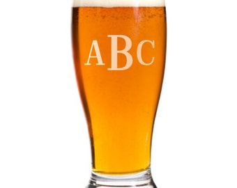 5 Personalized Pilsner Pub Beer Glasses Custom Engraved Roman Monogram