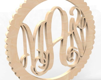 "3 Letter Monogram Door or Wall Hanger w Circle Sculpted Frame 12"" tall Custom Made."