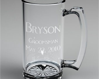 10 Personalized Groomsman Beer Mugs Custom Engraved