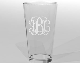 13 Personalized Groomsman Pint Beer Glass Vine Monogram Custom Engraved Wedding Gift.