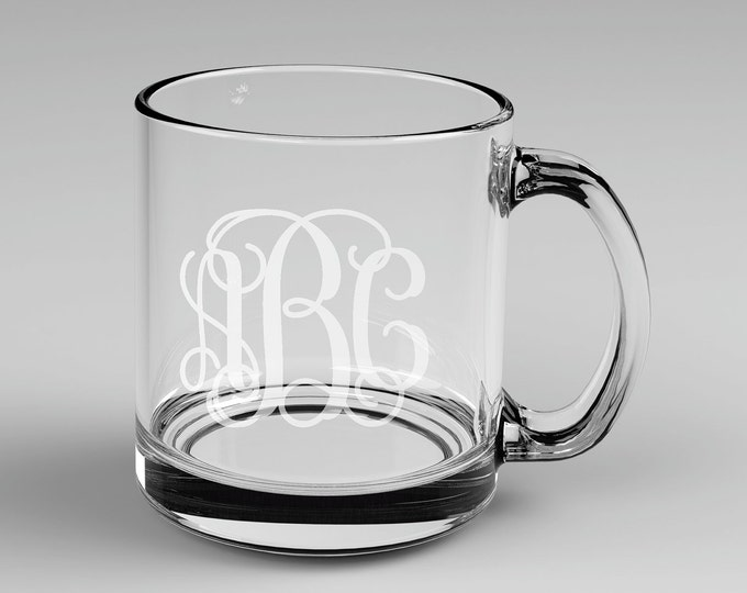 2 Personalized Vine Monogram Glass Mugs Monogrammed 3 letter Custom Engraved.