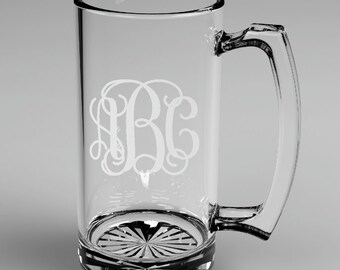 5 Personalized Groomsman Vine Monogram Beer Mugs Custom Engraved