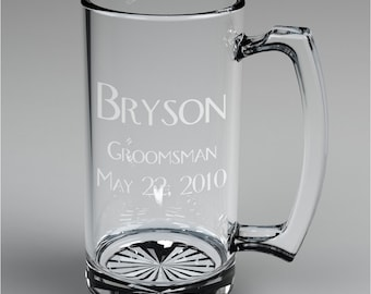 13 Personalized Groomsman Beer Mugs Custom Engraved Wedding Gift.