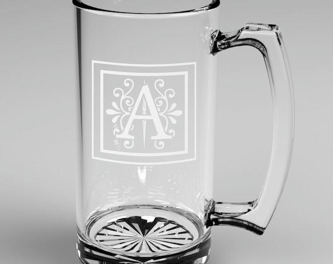 4 Personalized Groomsman Monogram Beer Mugs Custom Engraved Wedding Gift.