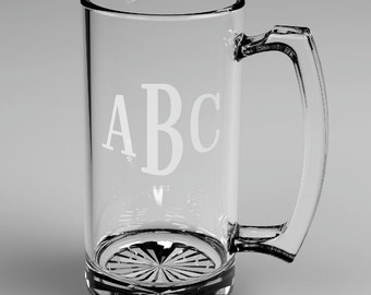 6 Personalized Groomsman Roman Monogram Beer Glass Mugs Custom Engraved