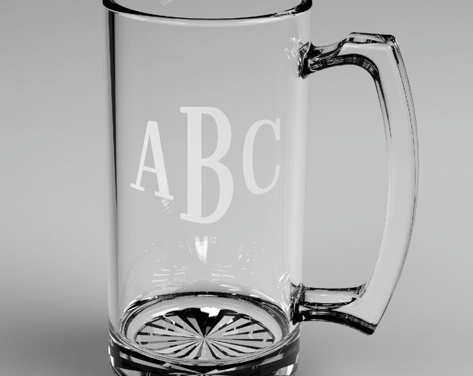 6 Personalized Groomsman Roman Monogram Beer Glass Mugs Custom Engraved